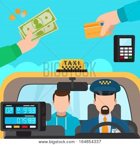 Inside taxi passenger and driver. Payment Methods vector illustration