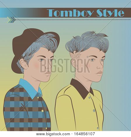 Two Young Girls. Teens hipsters. Vintage fashion. Tomboy style. Illustration