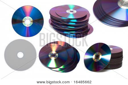 stack of Cd or DVD roms isolated on white background