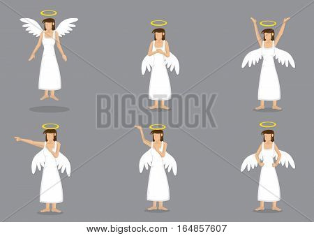 Set of six vector illustration of lady angel wearing long white dress with wings on back and halo above head isolated on grey background.