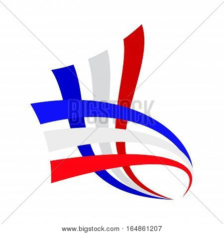 Vector sign abstract french and english flag