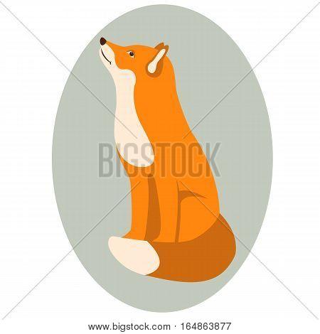 Fox vector illustration style Flat side profile