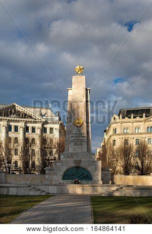 BUDAPEST HUNGARY - DECEMBER 11 2016: Soviet Monument on the Freedom Square Budapest Hungary