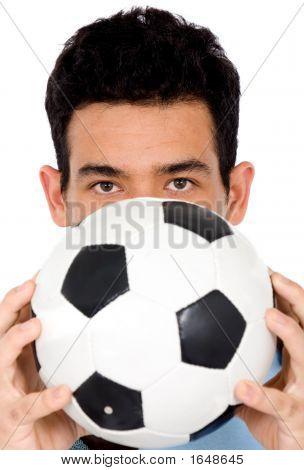 Mann mit einem Foot-ball
