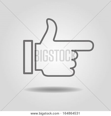 Thumbs Up Icon on a gray background with shadow.