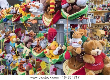 Souvenir Toy Stuffed Bears And Other Animals At Souvenir Shop.  Budapest, Hungary