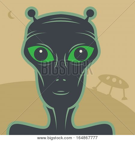 Alien and UFO abstract color vector illustration