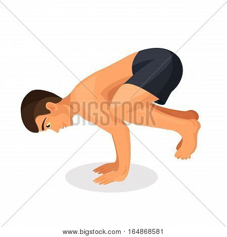 Isolated young man in good physical shape makes bakasana pose. Sporty boy working out and doing handstand yoga asana. Vector illustration of strengthening human muscles by exercise in crane pose