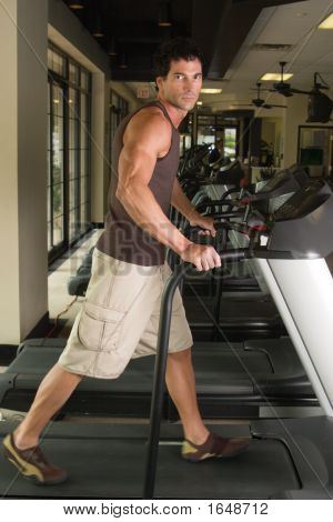 Man Exercising On Treadmill 3B