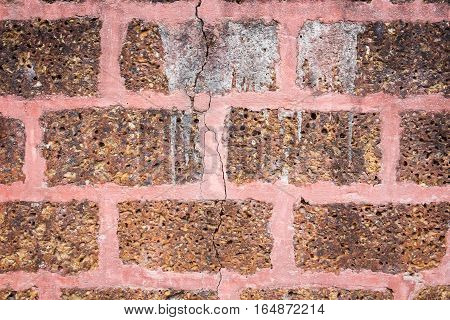 laterite old wall block cement on background