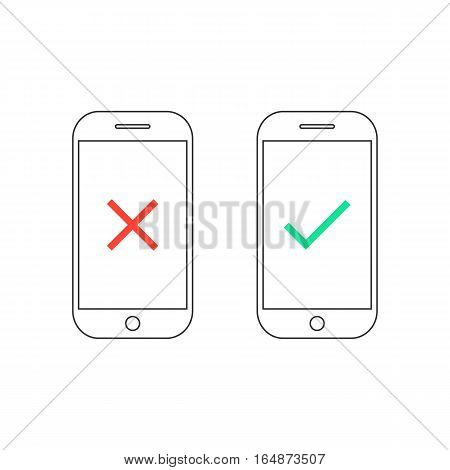 two smartphones with yes and no signs. concept of to do list, targeting approved, confirmation verified. isolated on white background. flat style trend modern logo thin line design vector illustration