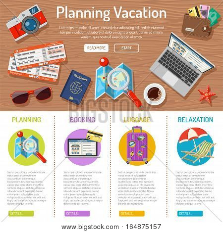 Planning Vacation and Tourism infographics with Flat Icons like Planning, Booking, Tickets, Money and Map. vector illustration