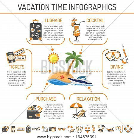 Vacation and Tourism infographics with Two Color flat Icons set ticket, island, cocktail, deck chair. Isolated vector illustration