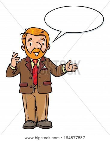 Childrens vector illustration of funny university lecturer or teacher. A man with a beard is giving a lecture or lesson, or tells something. Profession series. With balloon for text