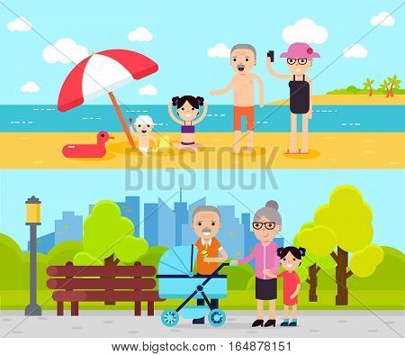 Active recreation horizontal banners with travelling relaxing and walking pensioners in flat style vector illustration