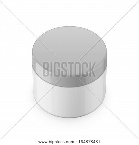Round white glossy plastic jar with lid for cosmetics - body cream, butter, scrub, bath salt, gel, skin care, powder. Realistic packaging mockup template. Eye-level view. Vector illustration.
