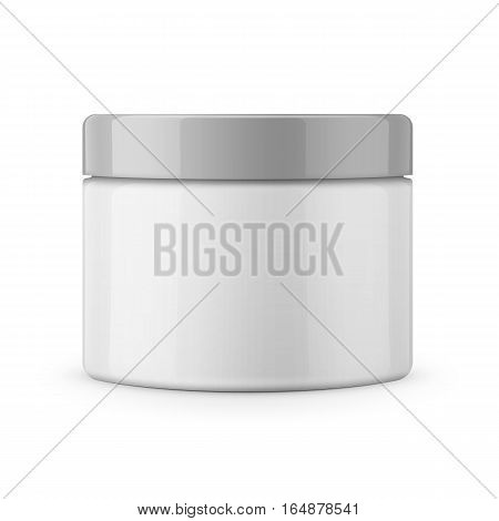 Round white glossy plastic jar with lid for cosmetics - body cream, butter, scrub, bath salt, gel, skin care, powder. Realistic packaging mockup template. Side view. Vector illustration.
