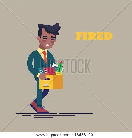 Dismissed sad black man carrying box with her things. Flat vector illustration.
