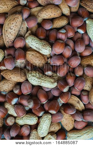 Nuts in the skin of almonds hazelnuts and peanuts. Background mix nuts.