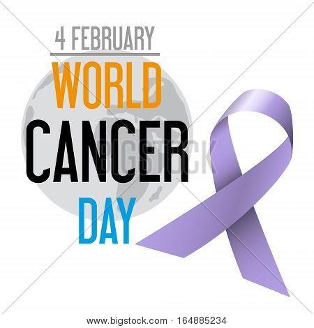 World Cancer Day Celebration Of Cancer Awareness With  Globe Eps10