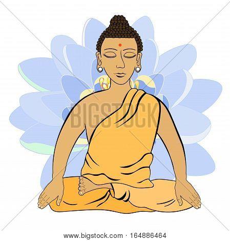 Buddha Sitting In The Lotus Indian Meditation Closed Eyes   Vector Illustration