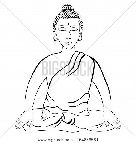 Buddha Sitting In The Lotus Indian Meditation Closed Eyes Coloring. Vector Illustration
