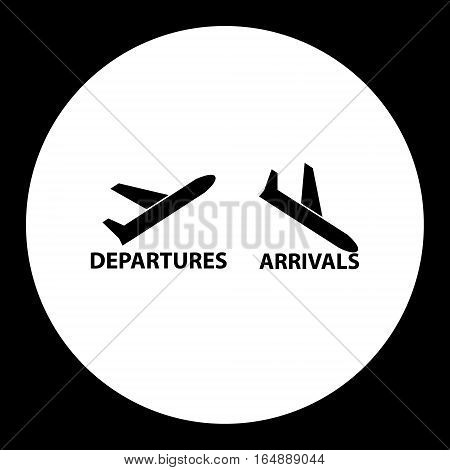 Departures And Arrivals Airport Black Simple Icon Eps10