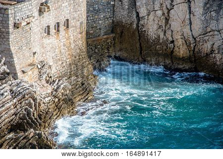 surf on the cliffs of the Adriatic Sea