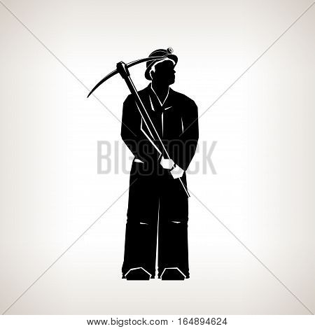 Silhouette Miner Holding a Pickax on  Light Background, Black and White Illustration