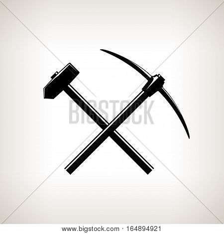 Silhouette of a Crossed Pickaxe and Sledgehammer on  Light Background, Black and White Illustration