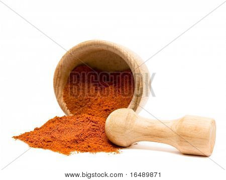Spice of pepper or turmeric isolated on white background