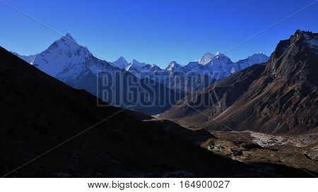 Landscape on the way to the Everest base camp. Mount Ama Dablam. Hotels in Dughla.
