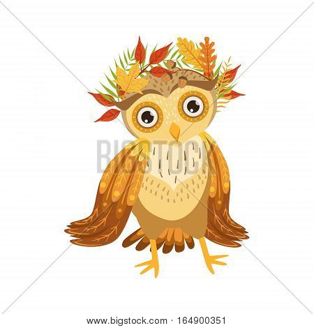 Owl Wearing Leaf Wreath Cute Cartoon Character Emoji With Forest Bird Showing Human Emotions And Behavior. Vector Illustration With Woodland Animal And Its Life Situation.