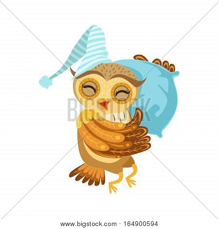 Owl Sleeping Cute Cartoon Character Emoji With Forest Bird Showing Human Emotions And Behavior. Vector Illustration With Woodland Animal And Its Life Situation.