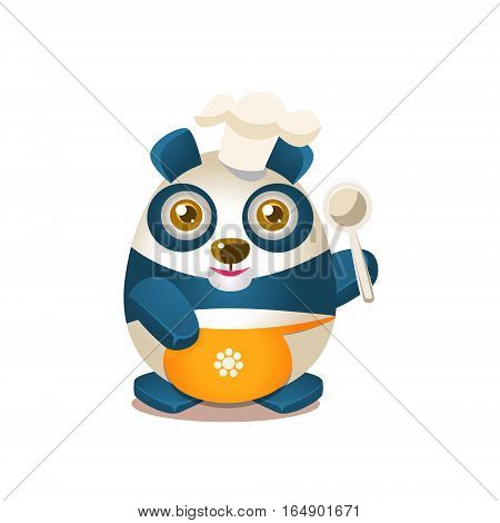 Cute Panda Activity Illustration With Humanized Cartoon Bear Character In Cook Outfit. Funny Animal In Fantastic Situation Vector Emoji Drawing.