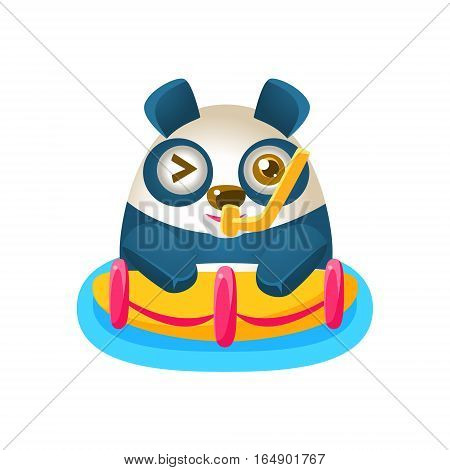Cute Panda Activity Illustration With Humanized Cartoon Bear Character With Snorkel And A Buoy. Funny Animal In Fantastic Situation Vector Emoji Drawing.