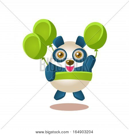 Cute Panda Activity Illustration With Humanized Cartoon Bear Character Flying With Party Air Balloons. Funny Animal In Fantastic Situation Vector Emoji Drawing.