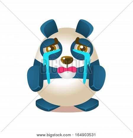 Cute Panda Activity Illustration With Humanized Cartoon Bear Character Crying With Streams Of Tears. Funny Animal In Fantastic Situation Vector Emoji Drawing.