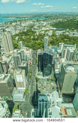 Auckland New Zealand- December 12 2013. Top view from sky tower of New Zealand city with sky tower's shadow.