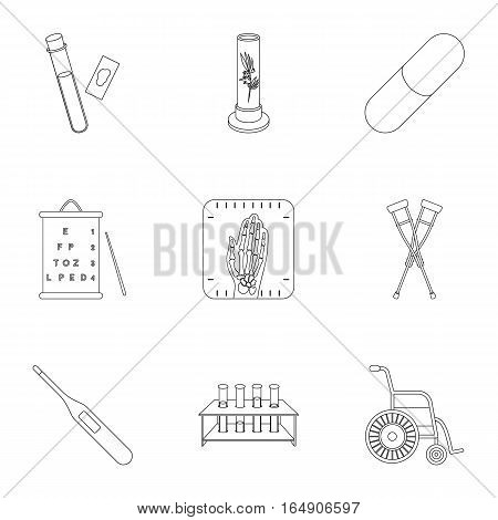 Medicine and hospital set icons in outline style. Big collection of medicine and hospital vector symbol stock