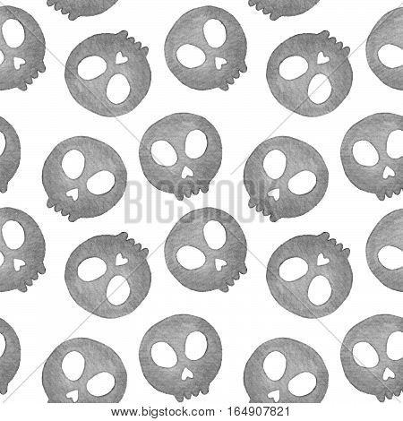 Sugar skull. Seamless pattern with Day of the Dead symbol. Real watercolor illustration