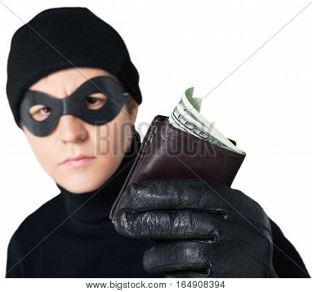 Portrait of a Thief Holding a Wallet with Money