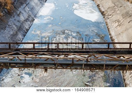 View Of Wastewater, Pollution And Garbage In A Canal