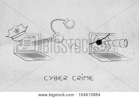 Laptop With Police Hat & Handcuffs Vs Pirate Computer
