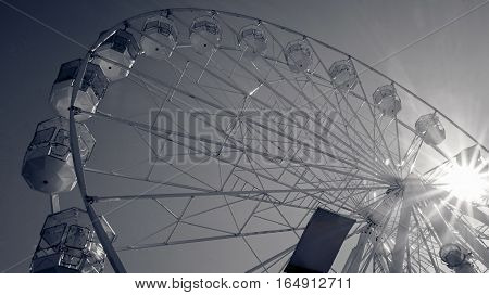 Giant ferry wheel at amusement park in UK