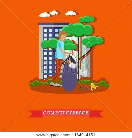 Vector illustration of volunteer man collecting garbage in the park, in the street. Voluntary organizations services concept design element in flat style.