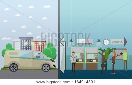 Vector set of banking concept design elements in flat style. Bank employees, security guard, customers, ATM, safe, collector, armored car.