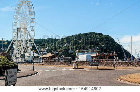 Mineheadl UK - July 27 2016: view of a small amusement park close to the beach in Minehead UK.