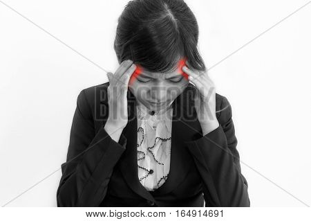 Closeup portrait of business woman headache in black suit on black and white concept