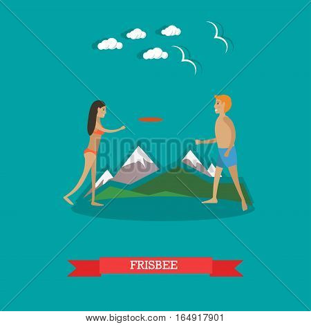 Vector illustration of young man and woman playing frisbee on the beach. Summer vacation, outdoor games concept design element in flat style.